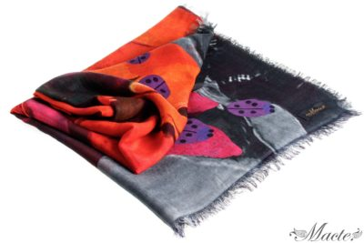 Red Cashmere Silk Shawl Flowers and Ladybirds Macte View 1