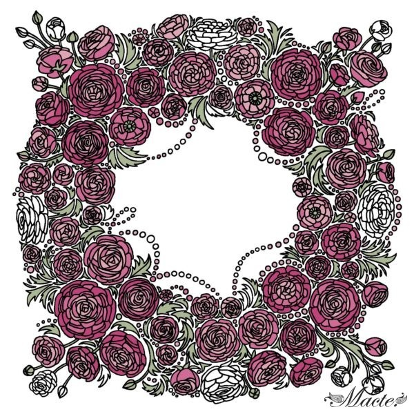 Rose and White Cashmere Silk Shawl Baroque Macte View 7