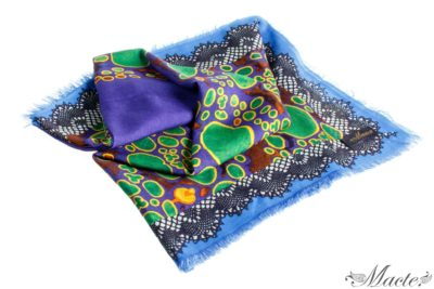Blue Cashmere Silk Shawl Flowers and Ladybirds Macte View 1