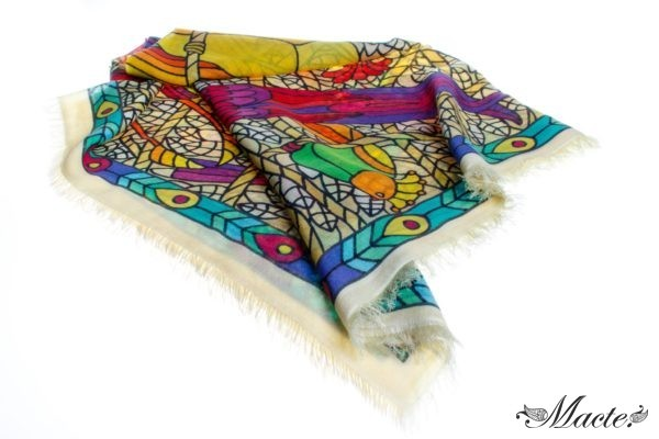 Multicolor Pashmina Shawl Birds of Paradise Macte View 3