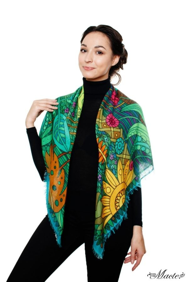 Green Cashmere and Silk Scarf Shawl Magical Garden Macte 3