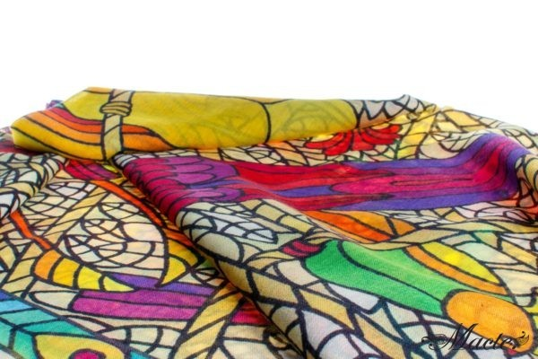 Multicolor Pashmina Shawl Birds of Paradise Macte View 5