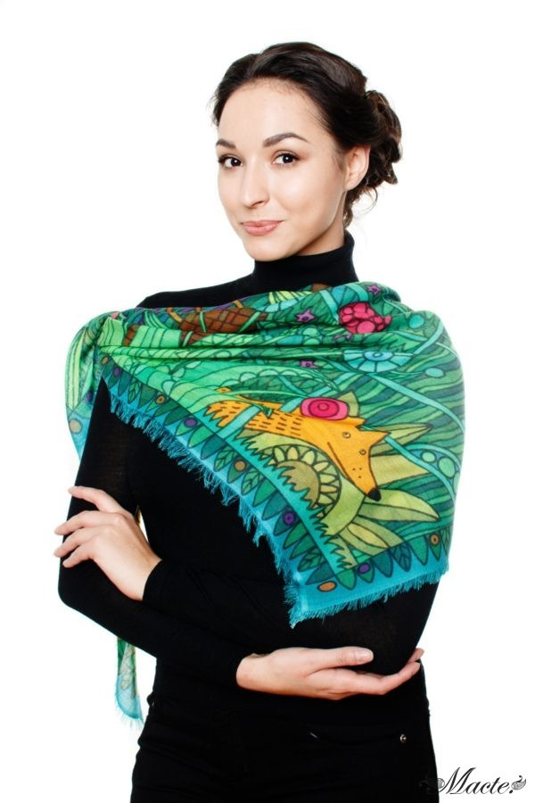 Green Cashmere and Silk Scarf Shawl Magical Garden Macte 4