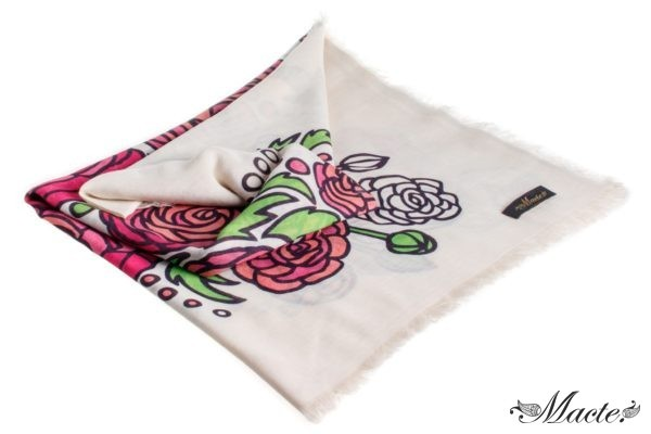 Rose and White Cashmere Silk Shawl Baroque Macte View 3