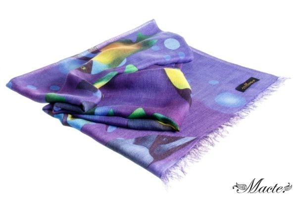 Blue Cashmere Silk Scarf Wrap Ocean Depths Macte View 2