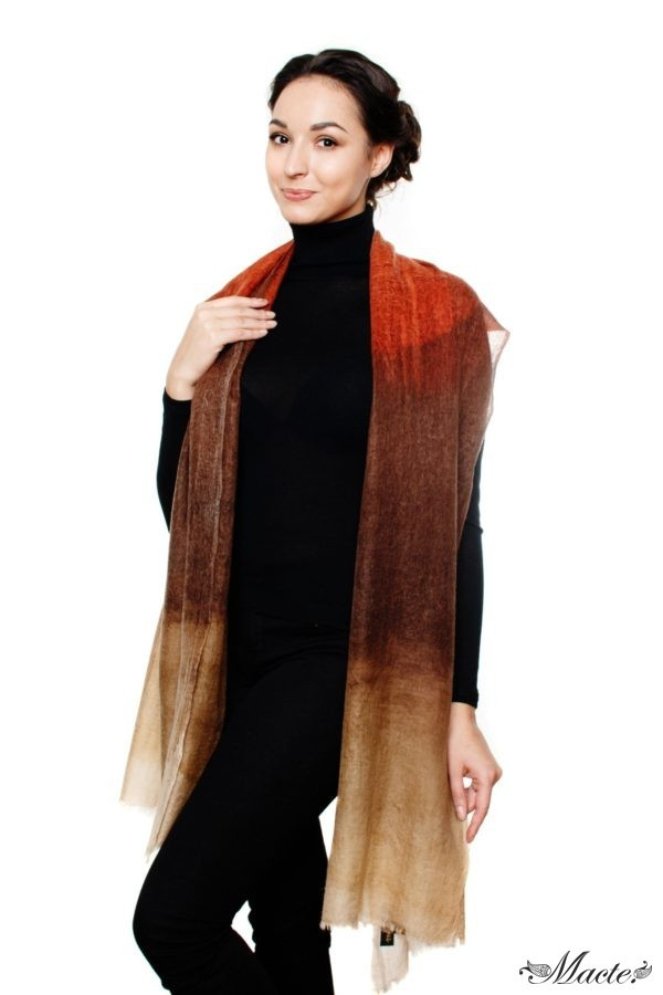 Edith Brown Cashmere Scarf Wrap Macte View 3