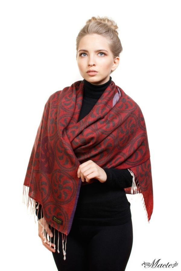 Burgundy Printed Scarf Shawl Endless Path Macte View 2