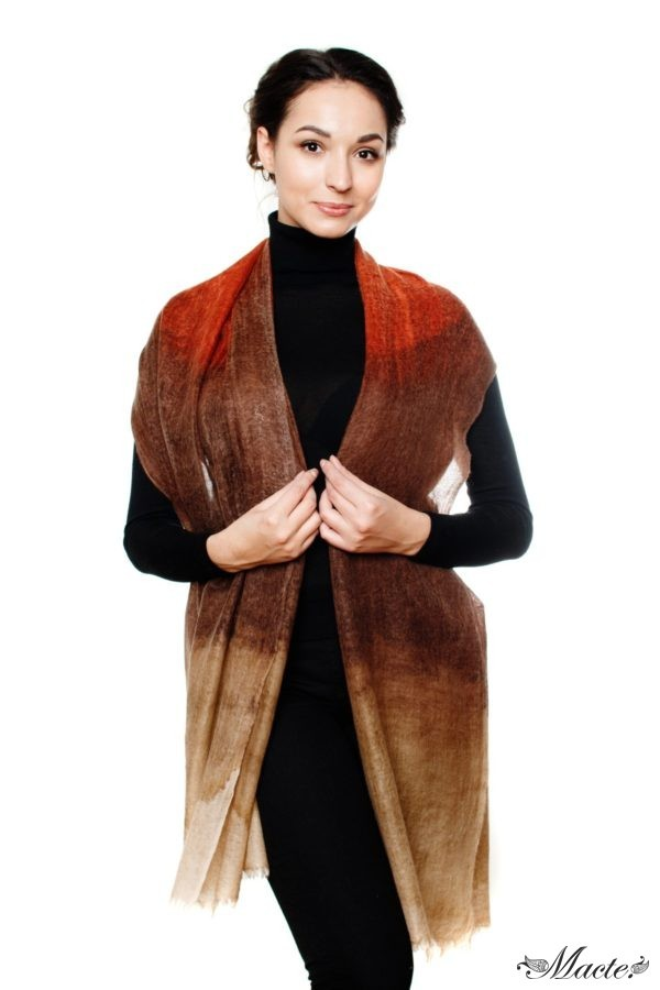 Edith Brown Cashmere Scarf Wrap Macte View 4
