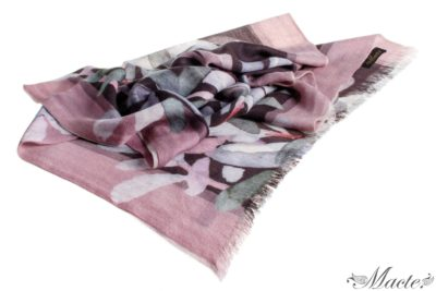 Grey and Pink Baby Cashmere Scarf Wrap Nocturnal Bloom Macte 1