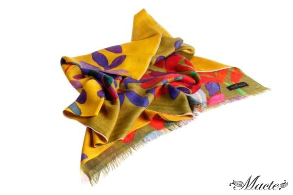 Bloom Orange Baby Cashmere Printed Scarf Shawl Macte 2