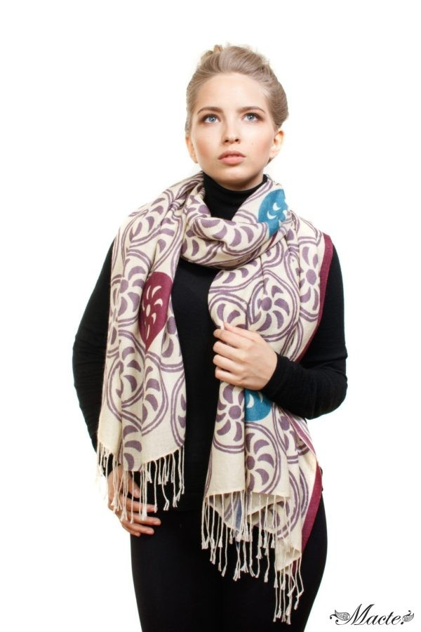 White Printed Scarf Shawl Endless Path Macte View 2