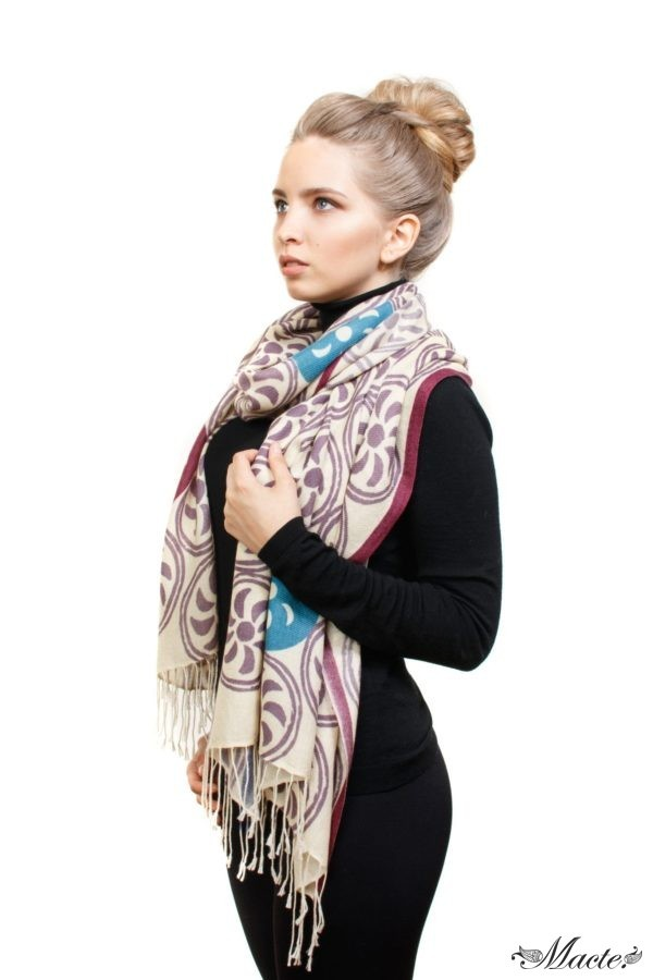 White Printed Scarf Shawl Endless Path Macte View 3
