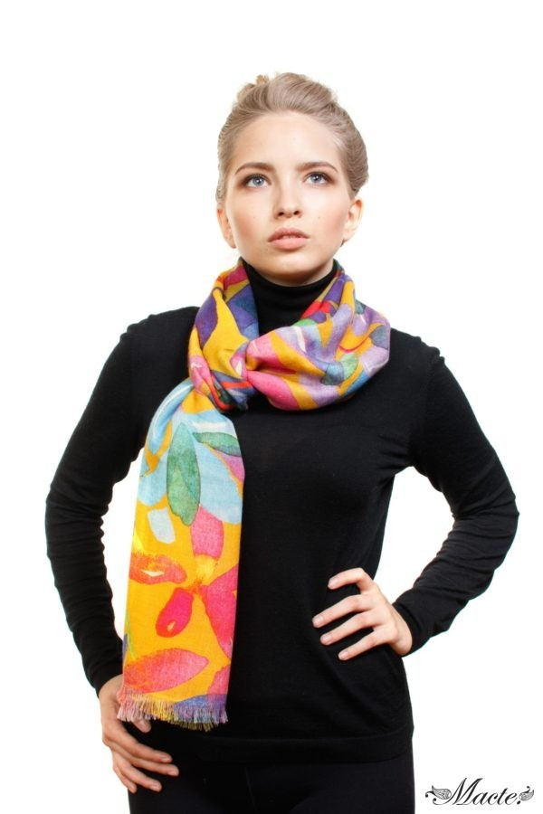 Bloom Orange Baby Cashmere Printed Scarf Shawl Macte 4