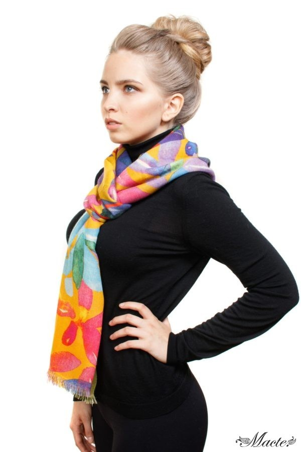 Bloom Orange Baby Cashmere Printed Scarf Shawl Macte 5