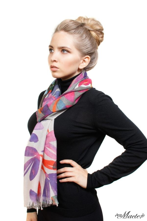 Bloom Grey Baby Cashmere Printed Scarf Shawl Macte 4
