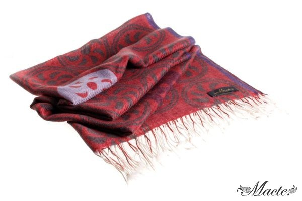 Burgundy Printed Scarf Shawl Endless Path Macte View 1